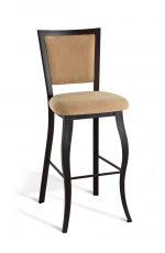 Amisco's Juliet Traditional Elegant Metal Bar Stool with Upholstered Back and Seat and Cabriole Legs