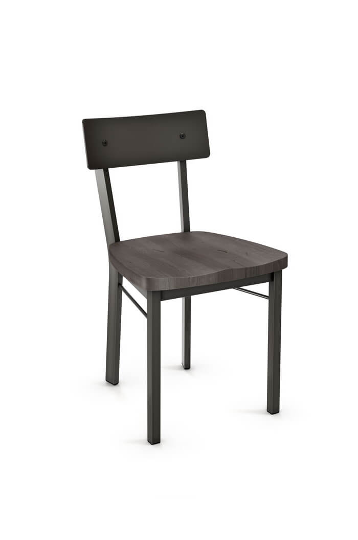 Amisco's Lauren Armless Chair with Wood Seat and Metal Frame