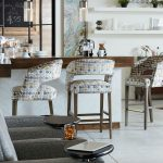Fairfield's Bryant Wooden Barstools with Colorful Upholstery Pattern
