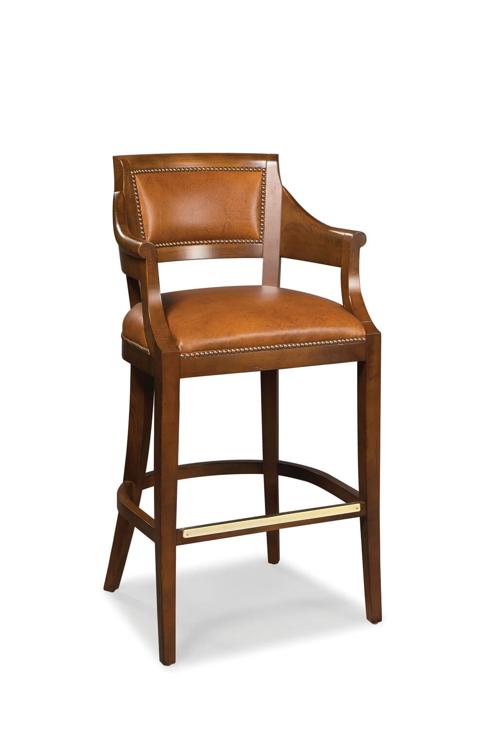 Fairfield Chair S Gilrow Bar Stool With Arms And Nailhead