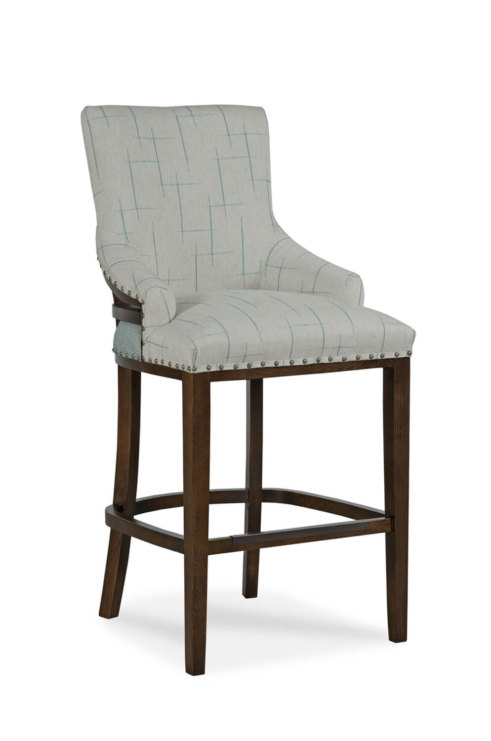Upholstered Bar and Counter Stools with Nailheads