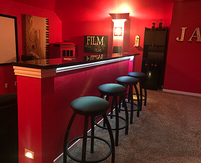 Misha XL Backless Swivel Stools in Home Bar