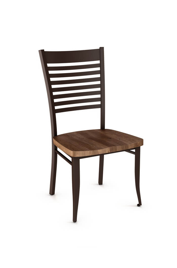 Amisco's Edwin Dining Chair with Distressed Wood Seat and Ladder Back
