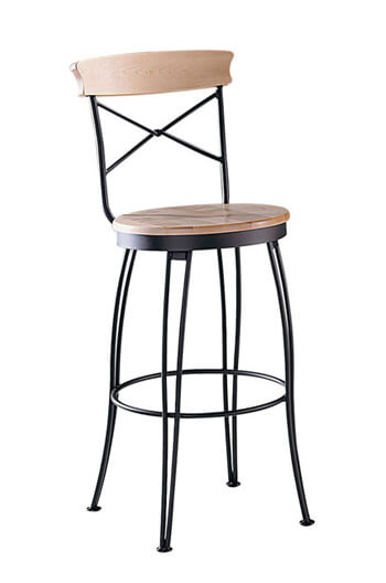 Trica's Laura Swivel Bar Stool with Wood Seat and Wood Trim on Back