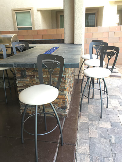 Trica's Martini Swivel Bar Stools on Customer's Patio Bar