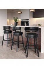 Callee's Ambridge Black Swivel Barstool with Curved Back in Modern Kitchen