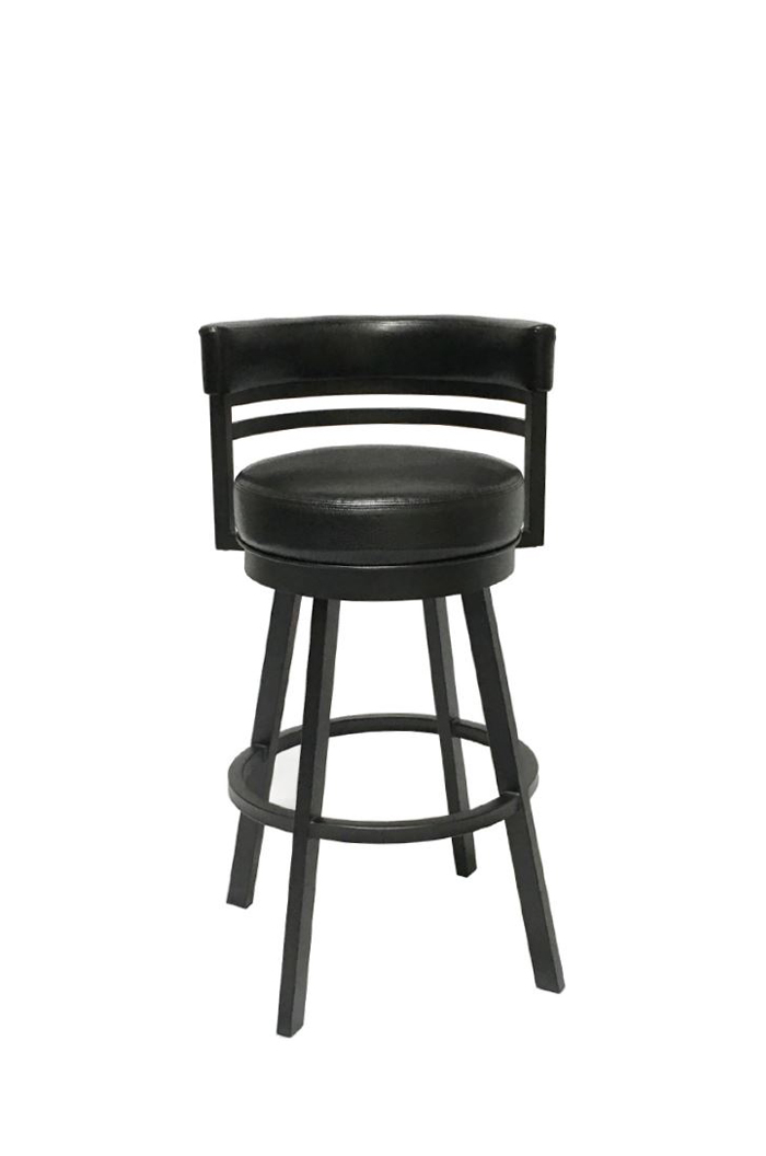 Ambridge Swivel Stool with Curved Back in Black