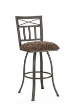Callee's Delta Swivel Bar Stool with Upholstered Seat and Metal Backrest