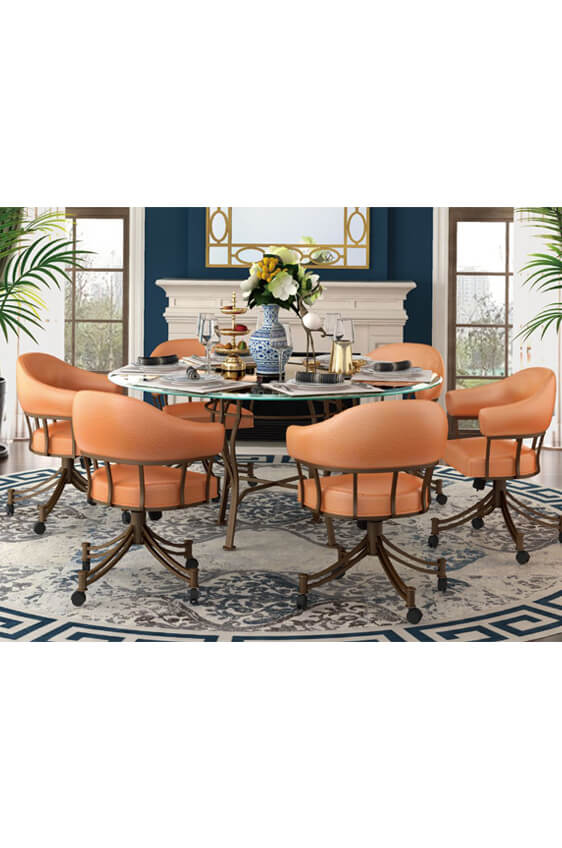 ... Calleeu0027s London Dining Chairs shown in Orange Fabric  sc 1 st  Barstool Comforts & Calleeu0027s London Tilt Swivel Upholstered Dining Chairs u2022 Set of 2