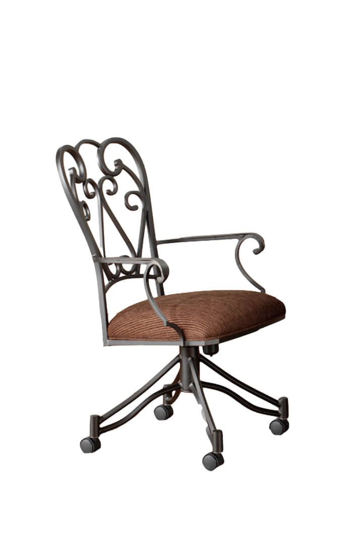 Callee's Valencia Tilt Swivel Dining Chair with Scroll Metal Back and Arms