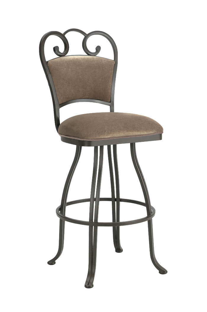 Callee's Ventura Upholstered Swivel Bar Stool with Back and Curly Metal Piece