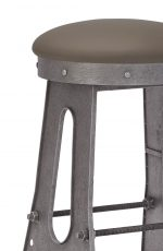 Wesley Allen's Detroit Backless Industrial Bar Stool in Silver Metal and Brown Seat Cushion - Close-Up