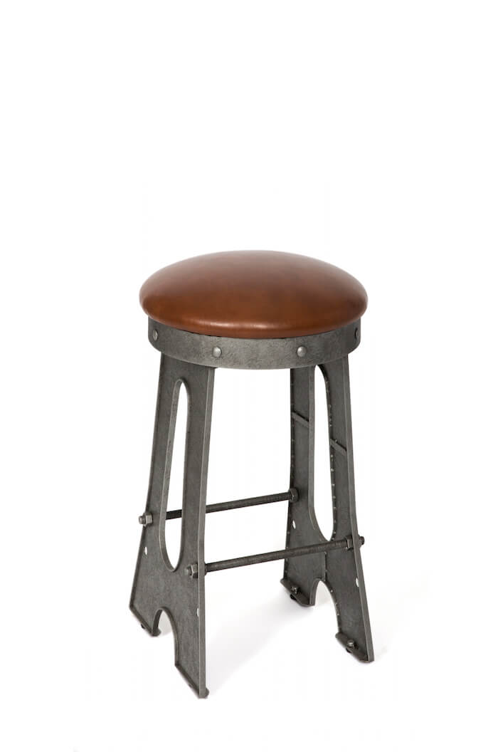Wesley Allen's Detroit Industrial Backless Stool with Metal Base and Round Cushion Seat