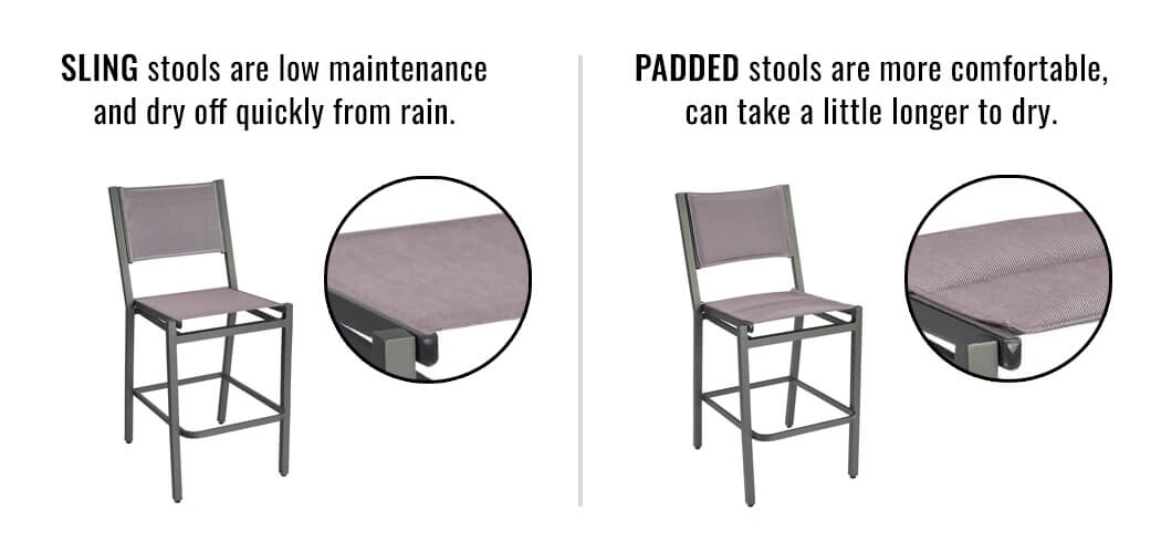 Comparison of the Regular Sling vs the Padded Sling for the Palm Coast Barstools by Woodard Furniture