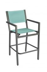 Woodard's Palm Coast Bar Stool with Arms and Augustine Frost Sling Fabric