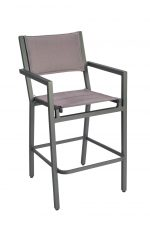 Woodard's Palm Coast Outdoor Padded Bar Stool with Arms