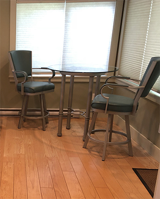 Laguna Swivel Stools with the Burnet Pub Table by Customer
