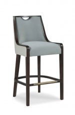 Fairfield's Anthony High-End Wood Upholstered Bar Stool with Blue Seat and Back Cushion