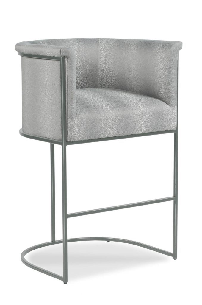 Fairfield's Nolita Upholstered Modern Barstool with Back and Nickel Metal Frame