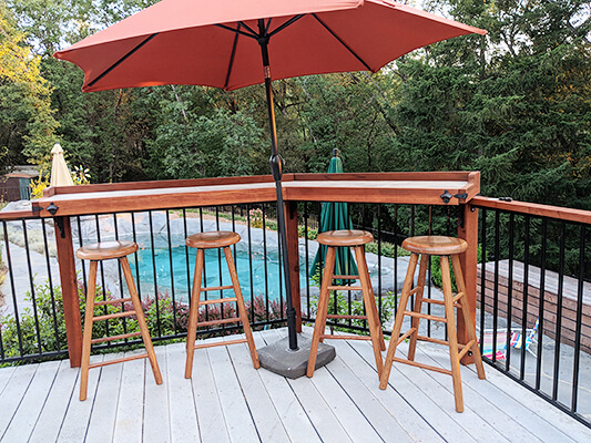 Saddle Dish Domestic Hardwood Backless Swivel Stool with Smooth Legs on Patio by Customer
