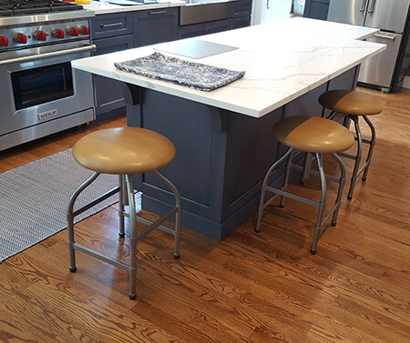 Wesley Allen's Dodge Swivel Backless Bar Stools in Customer Kitchen