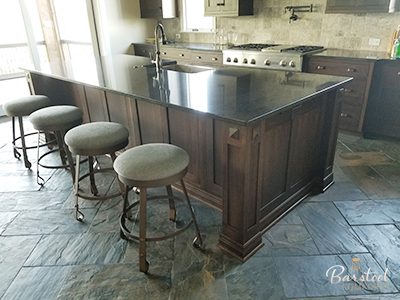 Wesley Allen's Everton Backless Swivel Stools in Customer Kitchen