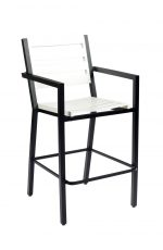 "Woodard's Palm Coast Outdoor Slat Back Bar Stool 30"", With Arms"