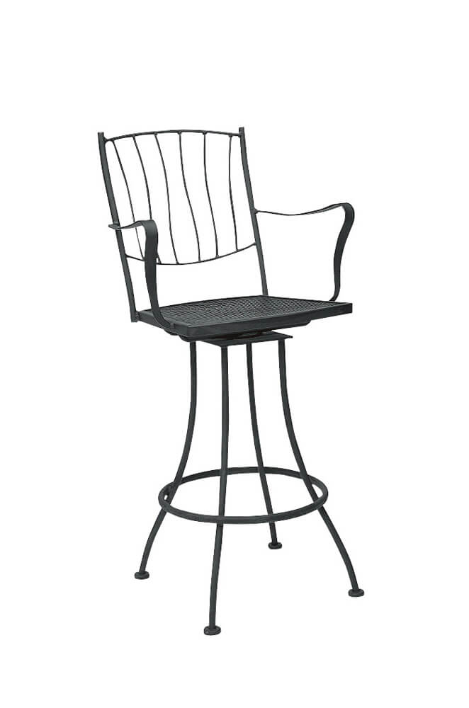 Aurora Outdoor Iron Swivel Bar Stool with Arms