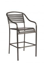"""Woodard's Baja Strap Outdoor Stationary Bar Stool 30"""" with Arms"""