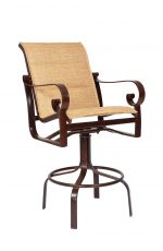 Woodard's Belden Outdoor Swivel Stool with Arms and Padding on Back and Seat