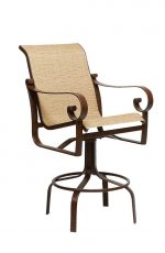 Woodard's Belden Outdoor Swivel Stool with Arms and Sling on Back and Seat