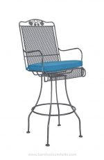 Woodard's Briarwood Swivel Bar Stool with Arms and Blue Seat Cushion