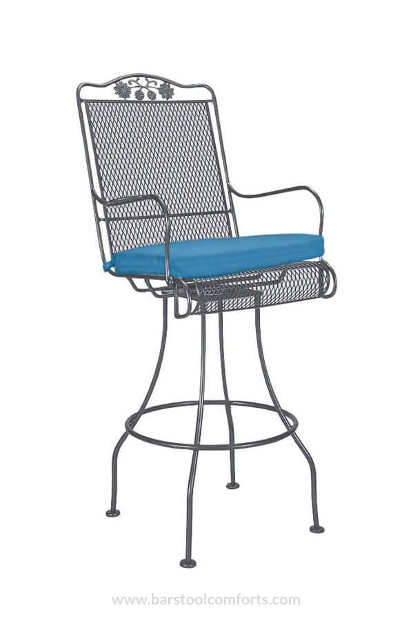 Briarwood Outdoor Iron Swivel Bar Stool With Cushion