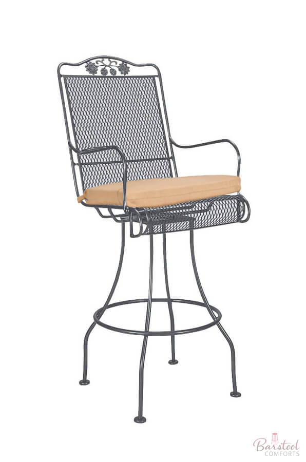 Briarwood Outdoor Iron Swivel Bar Stool with Arms