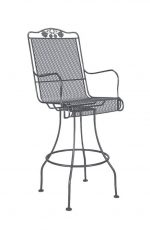 Woodard's Briarwood Outdoor Swivel Bar Stool with Arms shown in Textured Black finish