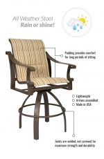 Woodard's Bungalow Padded Swivel Bar Stool - Features