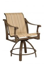 Woodard's Bungalow Sling Outdoor Counter Stool with Arms and Upholstered Seat and Back