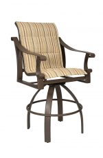 Woodard's Bungalow Padded Outdoor Bar Stool with Arms and Upholstered Seat and Back