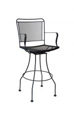Woodard's Constantine Outdoor Iron Swivel Bar Stool with Arms