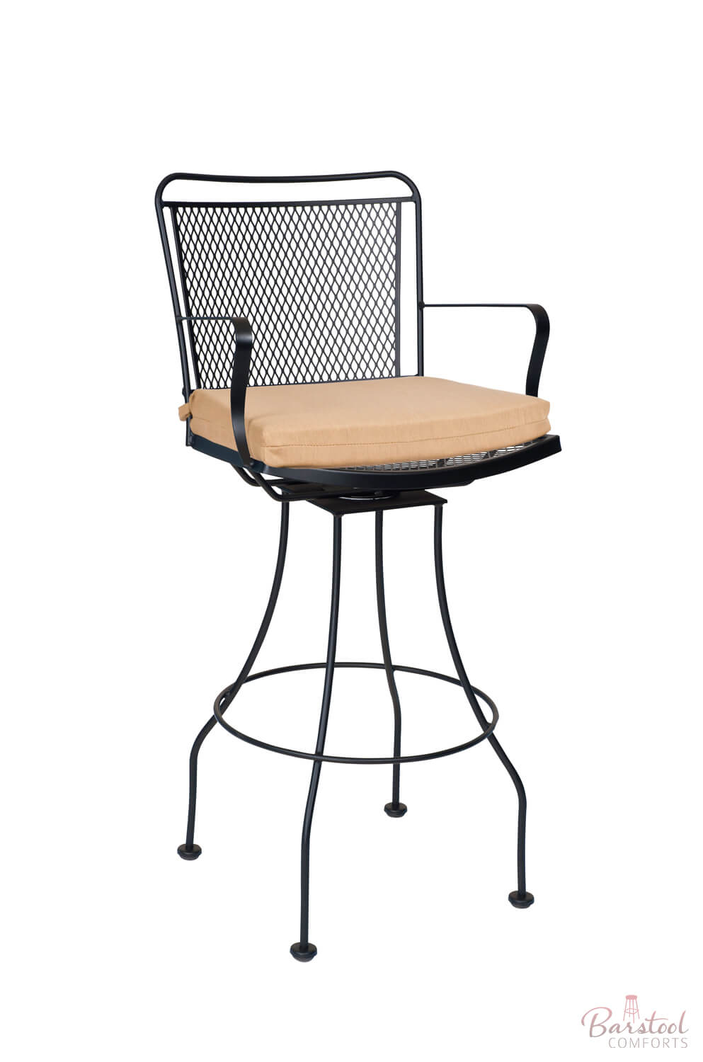 Constantine Outdoor Iron Swivel Bar Stool with Arms