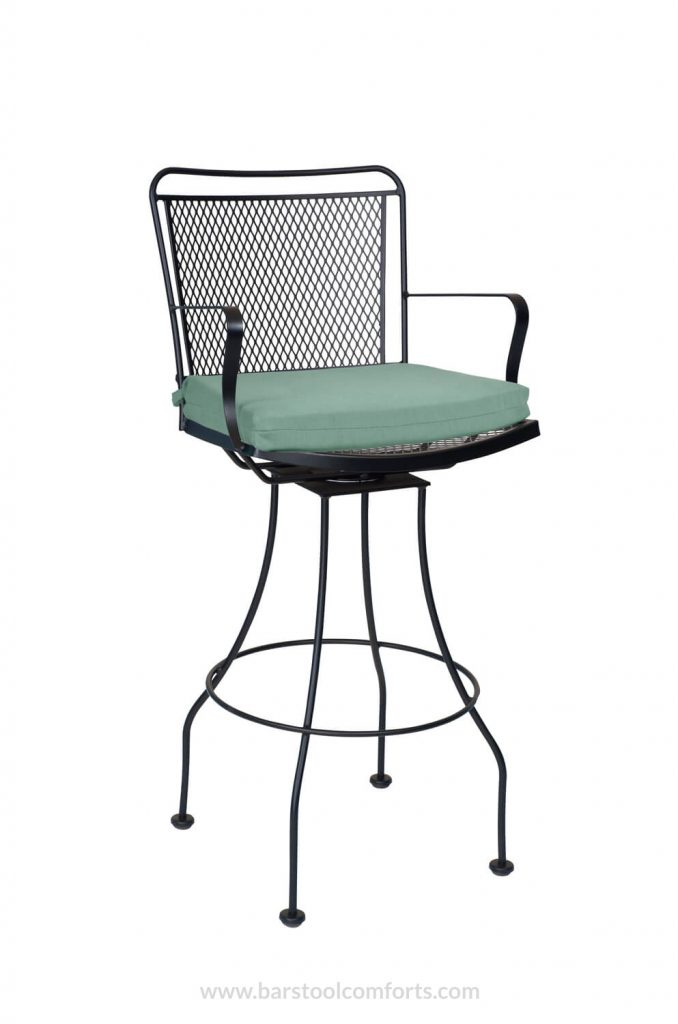 Woodard's Constantine Swivel Wrought Iron Outdoor Bar Stool with Seat Cushion