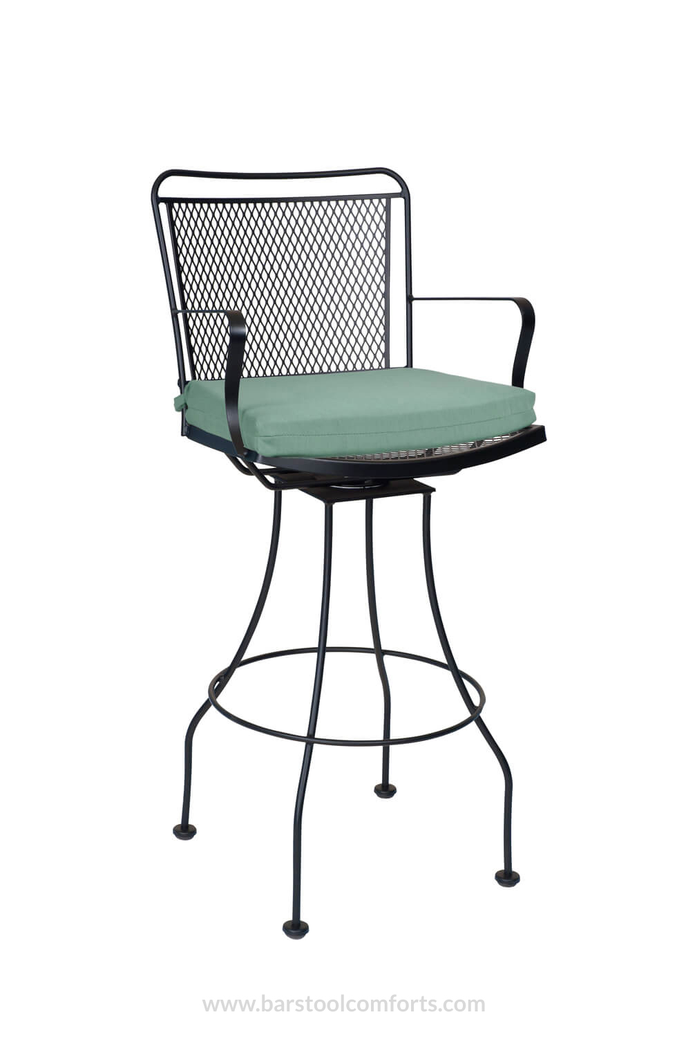 Constantine Outdoor Iron Swivel Bar Stool With Cushion