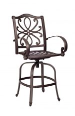 Woodard's Holland Outdoor Cast Aluminum Swivel Bar Stool with Arms and Scroll Back Design