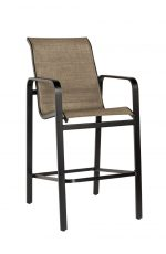 Woodard's Landings Outdoor Brown Bar Stool with Arms