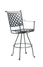 Woodard's Maddox Wrought Iron Outdoor Swivel Bar Stool with Arms
