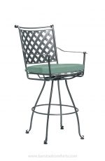 Woodard's Maddox Wrought Iron Outdoor Swivel Bar Stool with Arms + Seat Cushion