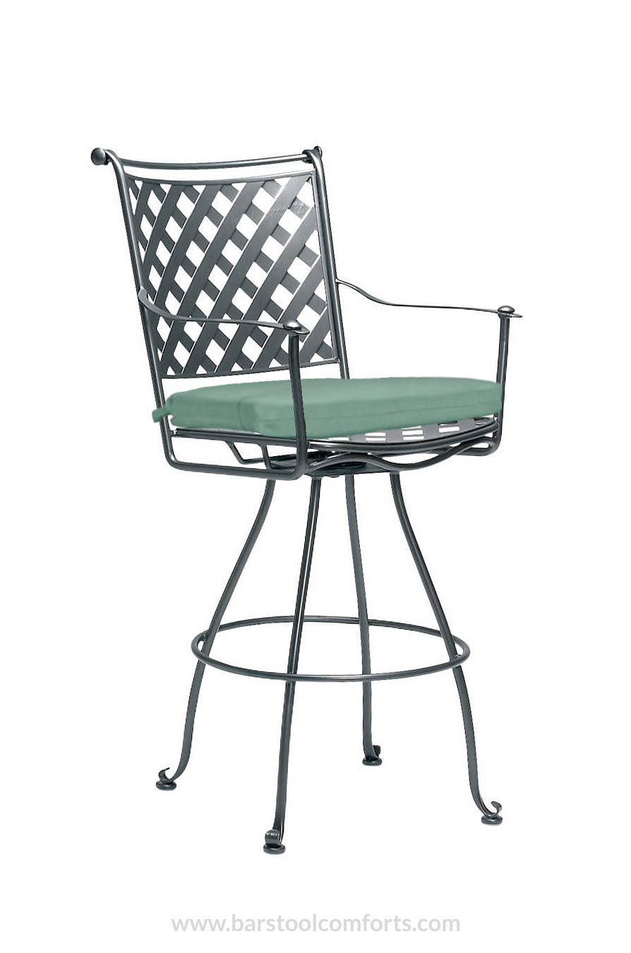 Woodard S Maddox Outdoor Wrought Iron Swivel Stool W Seat Cushion