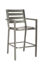 Woodard's Palm Coast Outdoor Ladder Back Stationary Bar Stool in Silver with Arms