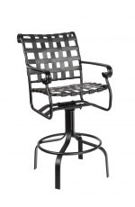 Woodard's Ramsgate Outdoor Swivel Bar Stool with Arms and Strap Back