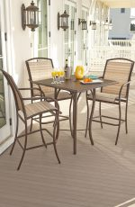 Woodard's Rivington Barstools with Arms Outside on Patio